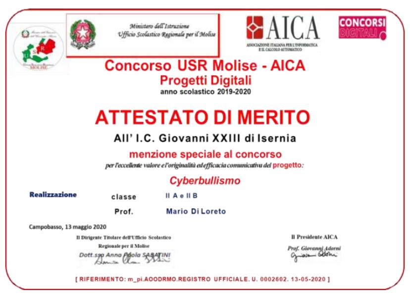Opuscolo di premiazione del Concorso Concorso AICA USR MOLISE PROGETTI DIGITALI a.s. 2019- 2020.
